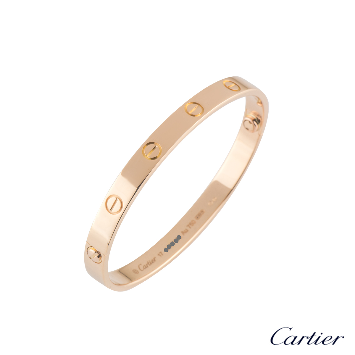 CartierRose Gold Plain Love Bracelet Size 17B6035617